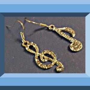 Silver Tone Dangle Music Note Design Earrings